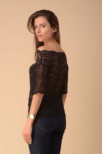 Black Asymmetrical Lace Blouse with Sleeves to the Elbow