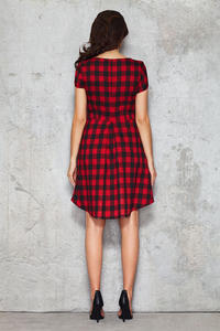 Black and Red Checkered Bib Seam Dress with Parabolic Hemline