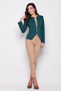 Seam Green Blazer with Slit Neckline and Semi Zip Fastening