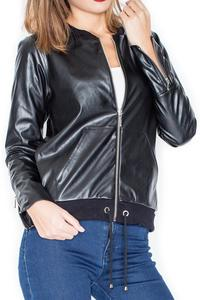 Black Spring Eco-Leather Bomber Jacket