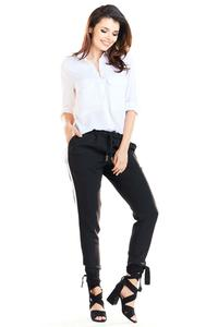 Black Casual Pants with Stripes