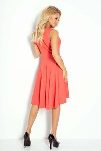 Coral Red Asymetrical Light Pleats Coctail Dress