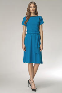 Blue Bateau Neck Self Belted Shift Dress