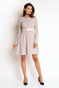 Grey Flared Belted Dress with Bow