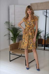 Camel Brown Belted Knee Length Dress