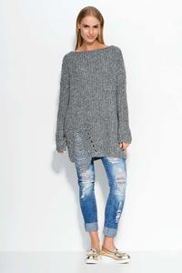 Dark Grey Oversized Sweater with Trendy Holes