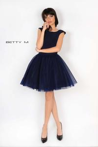 Dark Blue Evening Tulle Bottom Dress