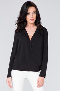 Black Wrap Front Long Sleeves Blouse