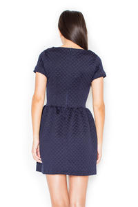 Blue Diamond Stitched Shift Dress with Rolled Up Cuffs