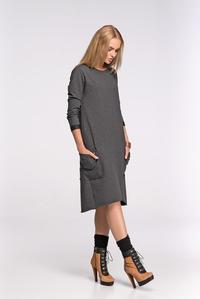 Dark Grey Asymetrical Casual Dress with Front Pockets
