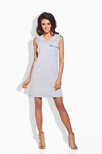 Grey Sporty Casual Style Dress With Pocket