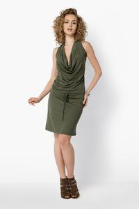 Khaki Knee Length Wrinkled Dress