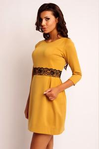 Honey Yellow Mini 3/4 Sleeves Lace Waist Dress