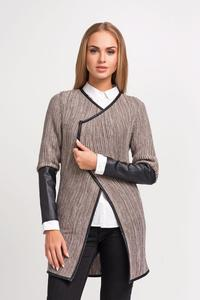 Cappuccino Elegant Cardigan with Eco-leather Piping and Sleeves