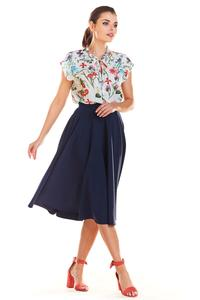 Navy Blue Midi Skirt with Pockets