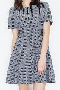 Grey Short Sleeves Dress with Leather Details