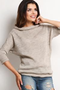 Beige Stylish Sweater with Short Tourtleneck