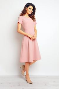 Pink Short Sleeves Light Pleats Dress