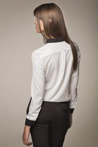 White Elegant Shirt with Contrasting Black Details