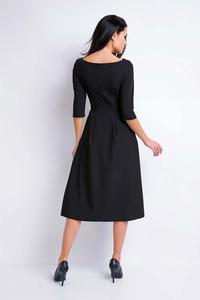 Black Midi Formal Dress with Wide Bottom