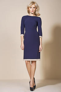 Navy Blue Corporate Look Chic Dress