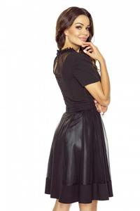 Black Evening Flared Dress with Netz Neckline