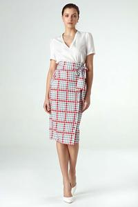 Pepito Patterned Pencil Skirt with High Waist