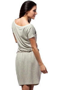 Grey Flecked Shirt Dress with Braided Waist Belt