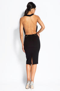 Black Evening Dress with Open Back and Chain
