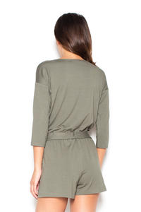 Olive Green Wrap Front Summer Jumpsuit