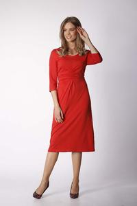 Brick knitted dress with draping elements