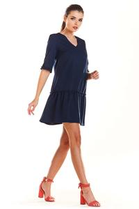 Navy Blue V-neck dress with a frill at the bottom