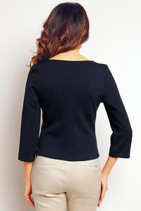 Dark Blue Elegant Short Blouse