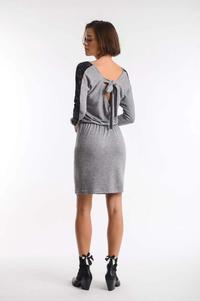 Gray and Black Pleated Dress with Lace and Neckline on the Back