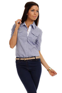 Slim Fit Seam Collared Blue Shirt with Flap Chest Pocket