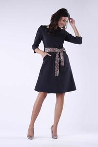 Black Flared Dress With Leopard Belt