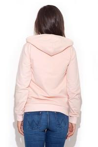 Pink Zipper Closure Hooded Jumper