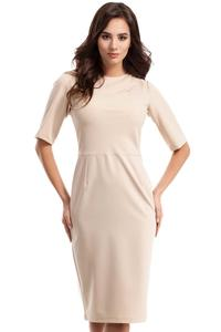 Beige Simple Pencil Style 1/2 Sleeves Dress