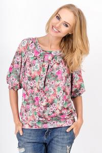 Pink Short Sleeves Floral Pattern Blouse