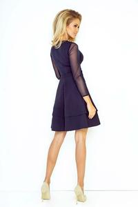 Dark Blue Coctail Dress with Transparent Sleeves