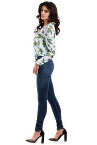 Light Blue Long Sleeves Humming-bird Pattern Blouse