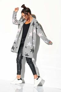 Light gray Cardigan without Fastening with Colorful Stars