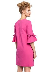 Fuchsia Flared Dress with Bow on The Sleeves