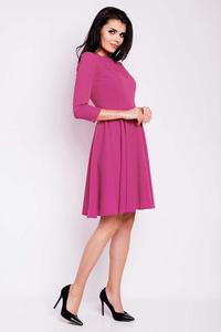Pink Flared Knee Length Wrinkled Dress