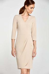 Beige Classic Office Style Dress