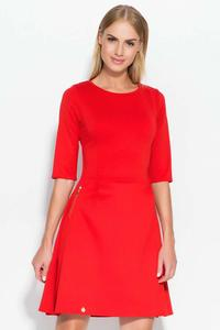 Red Flared 3/4 Sleeves Knee Length Dress