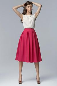 Fuchsia Retro Style Flared Light Pleats Midi Skirt with Pockets