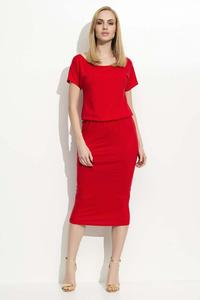 Red Pencil Dress with Elastic Waist