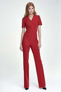 Red Elegant Short Sleeves Jumpsuit