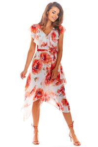 Red Envelope Dress Midi in Flowers with a frill